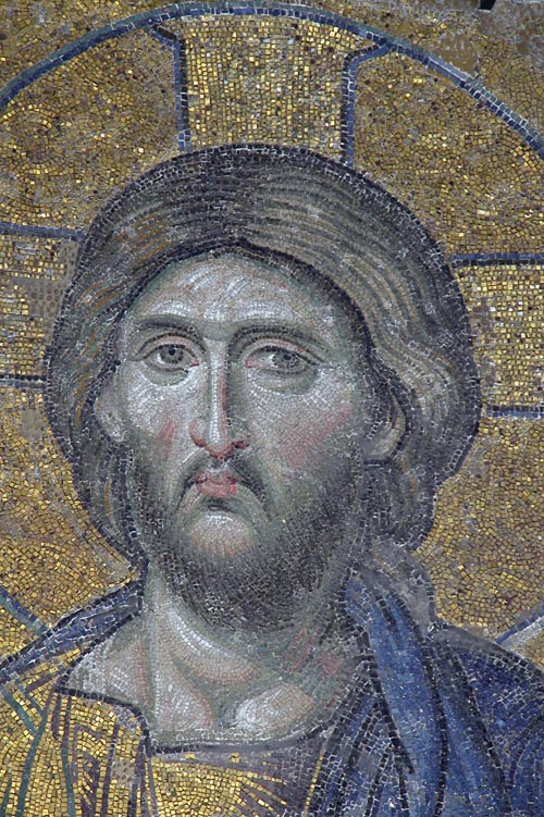 Close up of the face of Christ in the Deesis panel