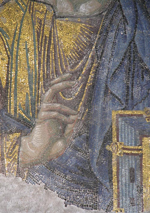 Close up of the hand of Christ
