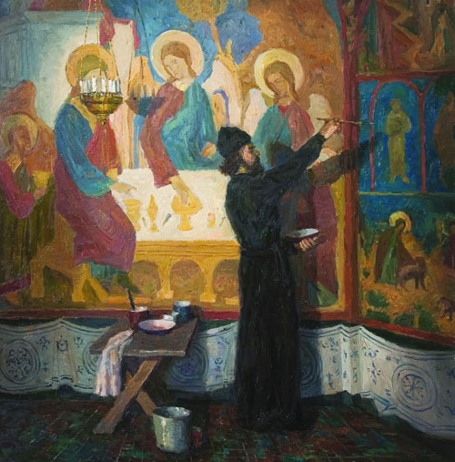 A Russian Monk Fresco Painter at Work