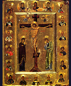 Ikon of the Crucifixion with Saints and Archangels