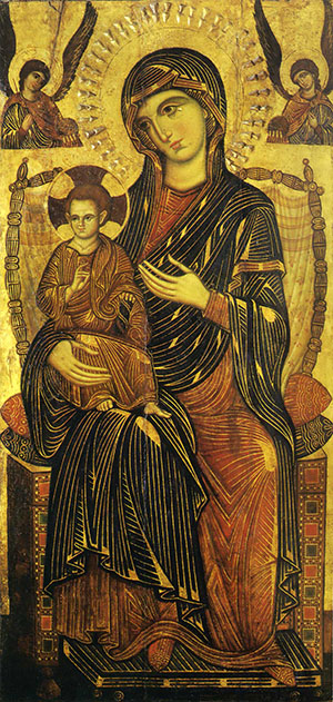 Byzantine icon of Madonna with angels