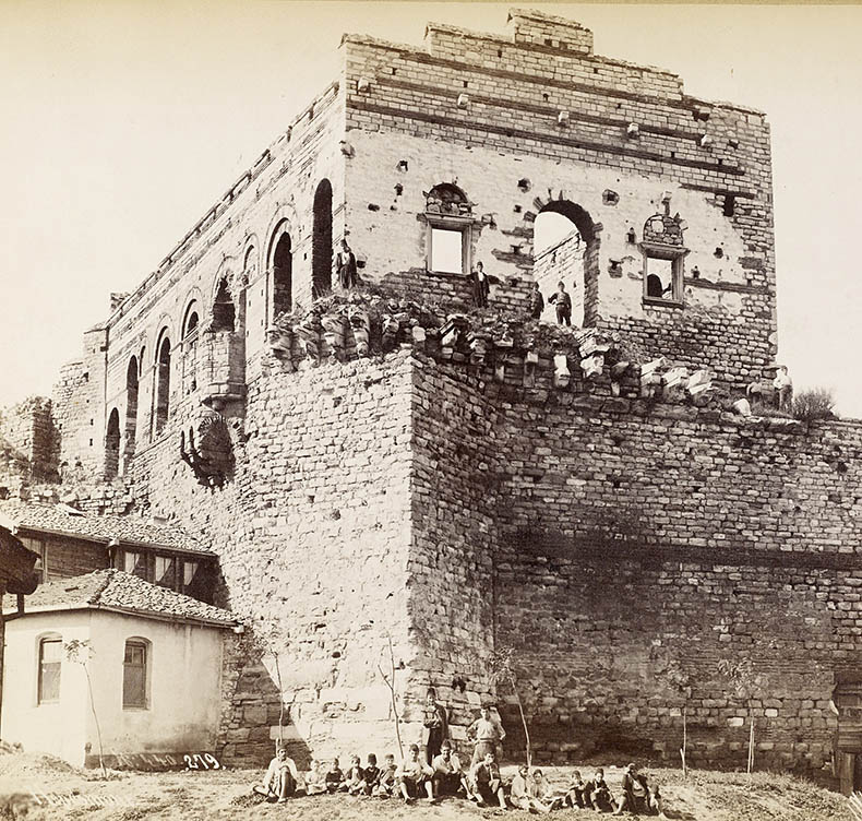 Facade of the Palace of the Porphyrogenitus with people