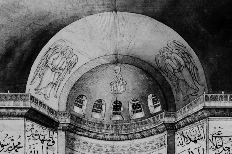 Loos drawing of angels in Hagia Sophia