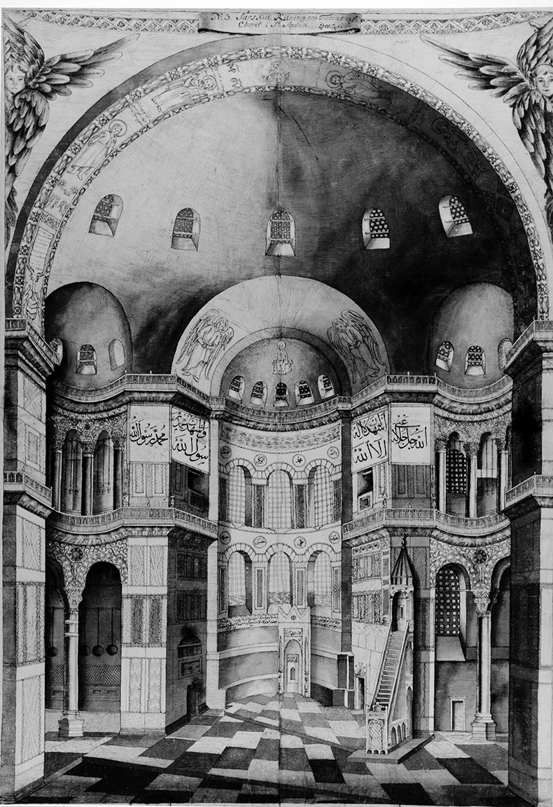 Cornelius Loos drawing of the nave of Hagia Sophia