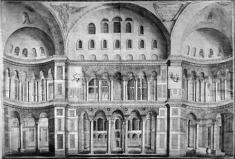 Loos drawing of Hagia Sophia nave
