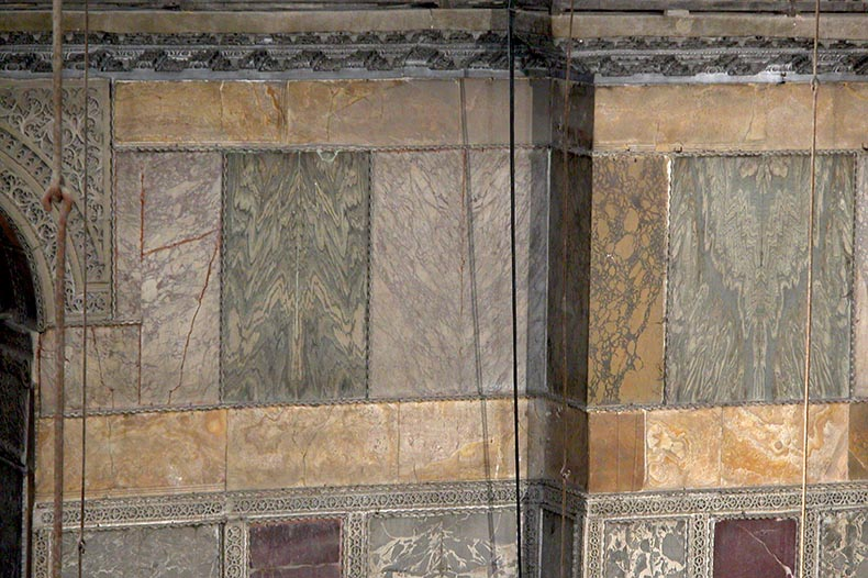 Marble revetment Hagia Sophia north side nave