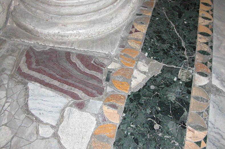 Bit of Cipollino Rosso Marbkle in floor of Hagia Sophia