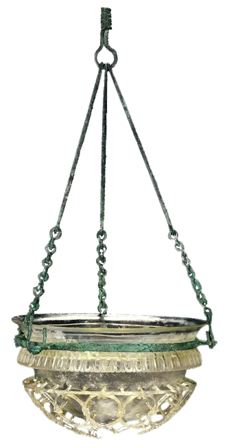 Hanging Late Antique Hanging Glass Cage Lamp