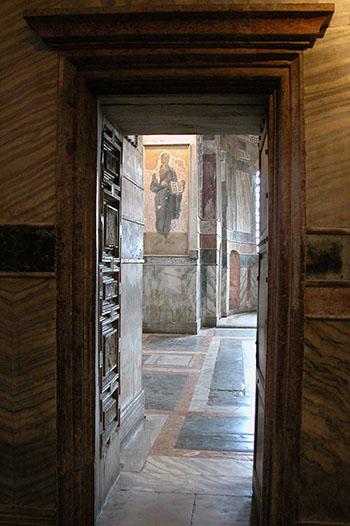 door into nave of Chora Church