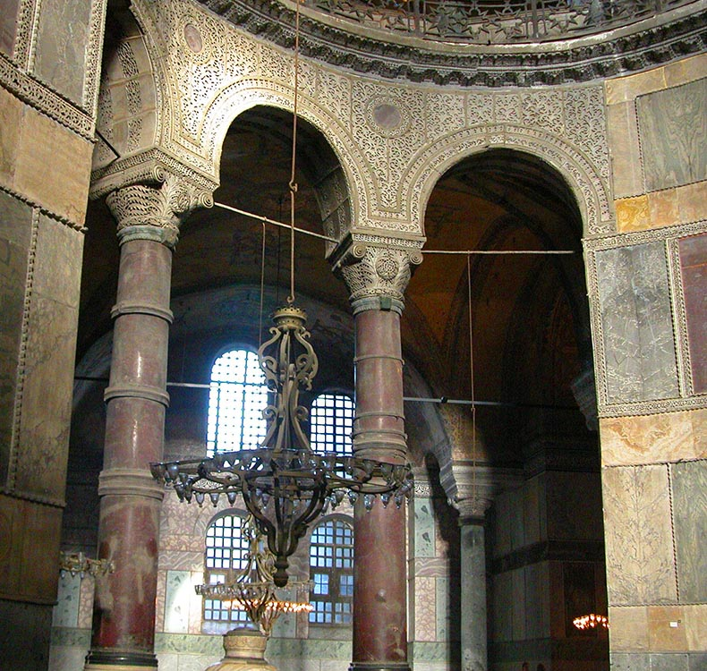 Columns of Red Porphyry in Hagia Sophia