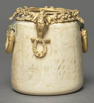 Byzantine Ivory and Gold Cosmetics Jar