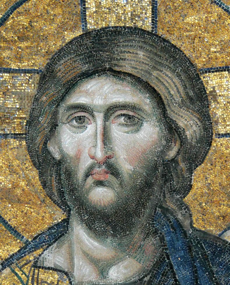 Close-up Christ in Hagia Sophia