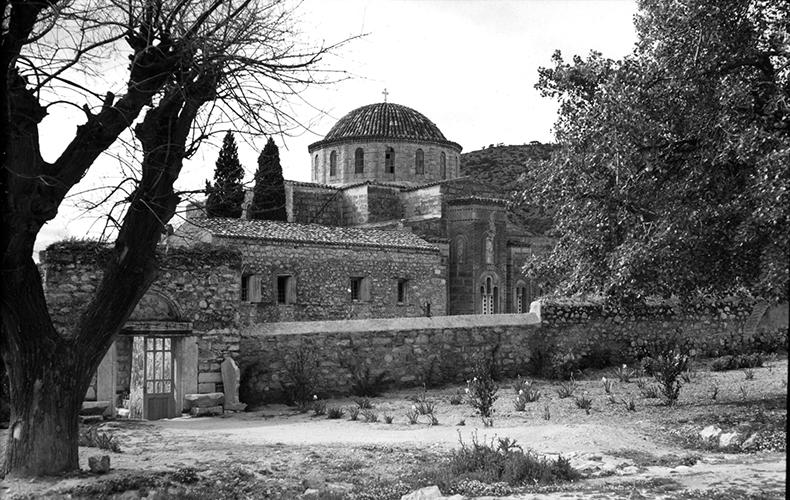 Daphni Monastery through Trees