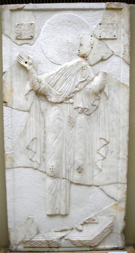 Marble relief of the theotokos from the Mangana