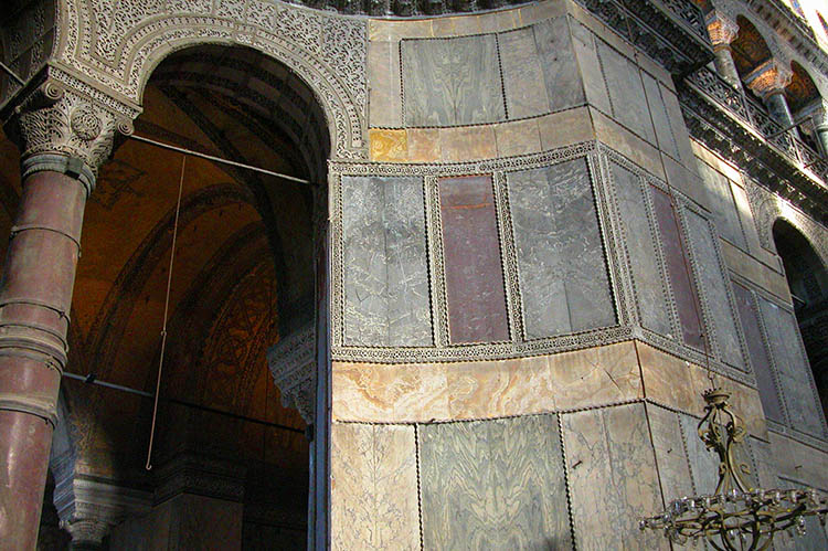 Golden Bands of Revetment in Hagia Sophia