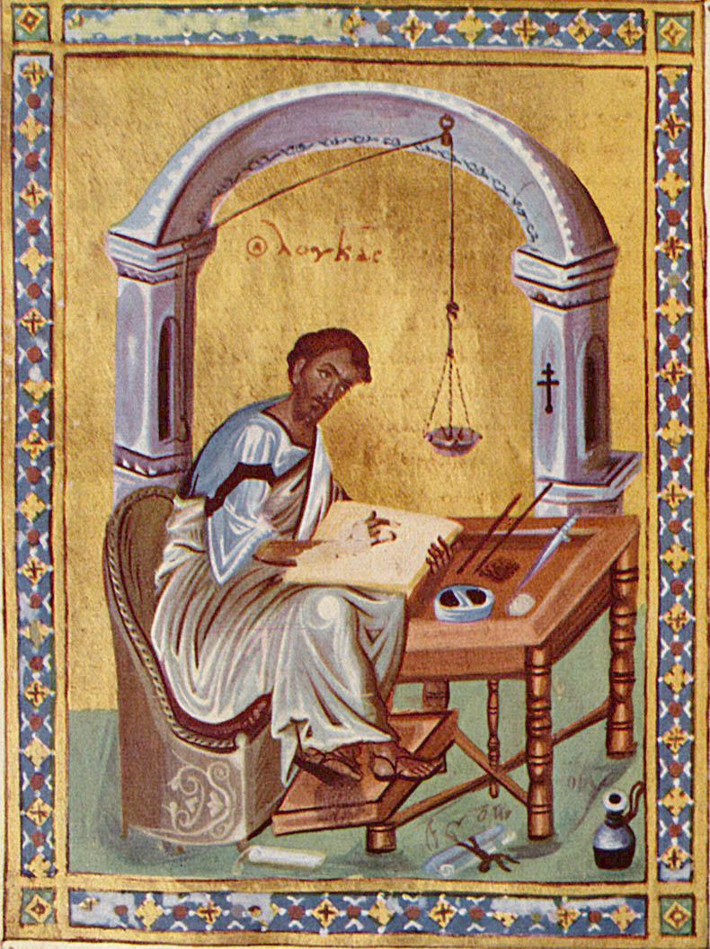 Saint Luke writing using a oil lamp