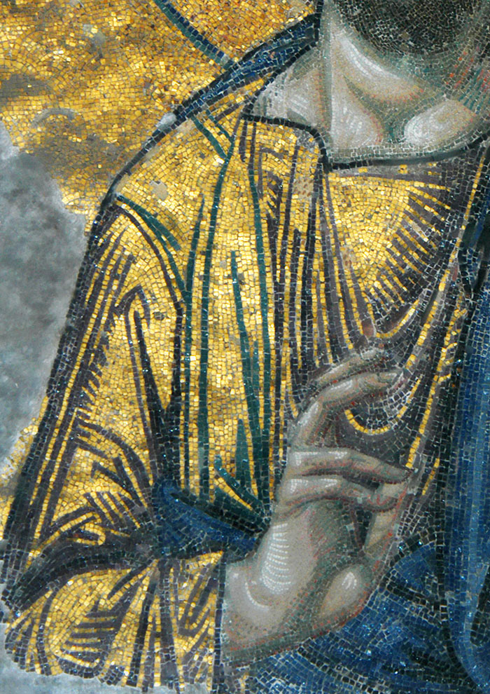 Christ wearing a golden chition