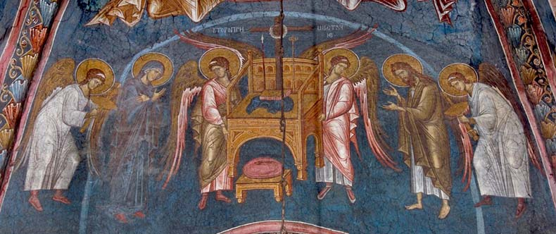 Byzantine Fresco Angels with Mary Theotokos