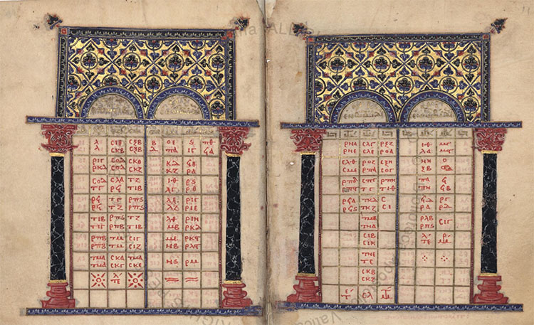 Byzantine Illuminated Canon Table