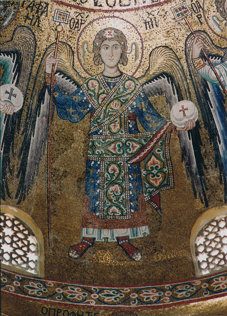 close-up of Byzantine angel in dome