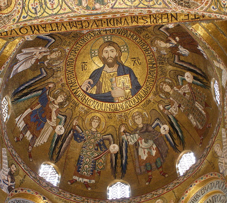 Christ with angels in dome of Norman church