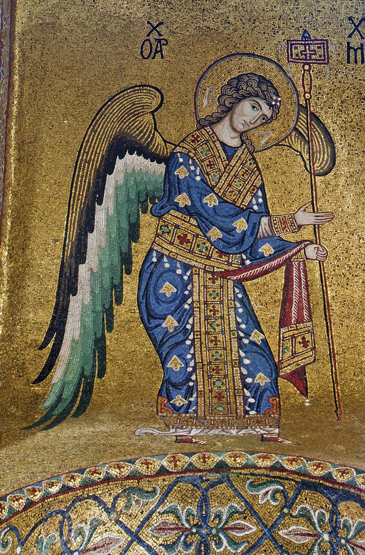 byzantine archangel mosaic from sicily
