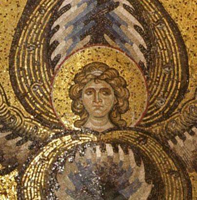 close-up face of seraphim angel