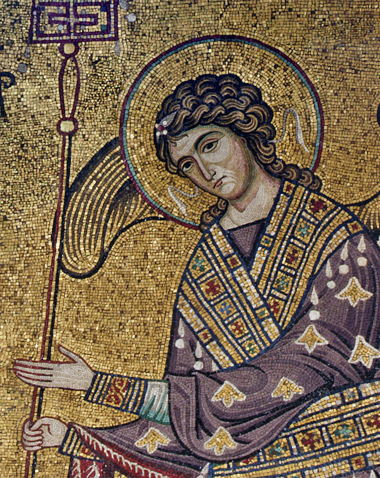 close-up archangel Gabriel Byzantine art