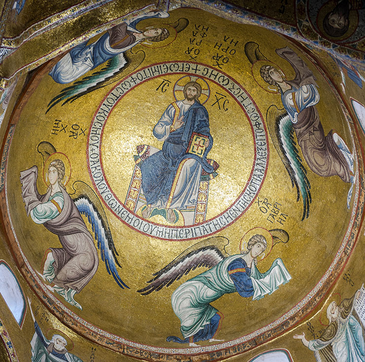 Four Archangels with Christ in dome