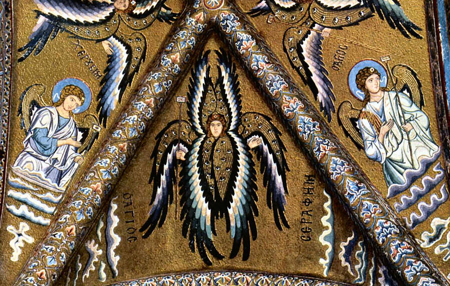 many angels in vault of Norman cathedraal