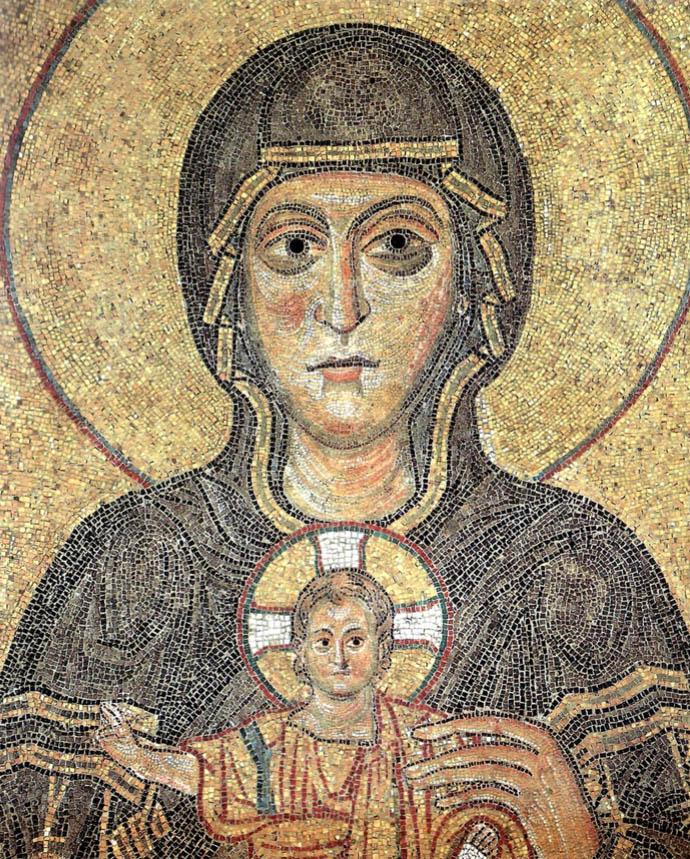 Madonna on Throne - Byzantine Art Mosaic