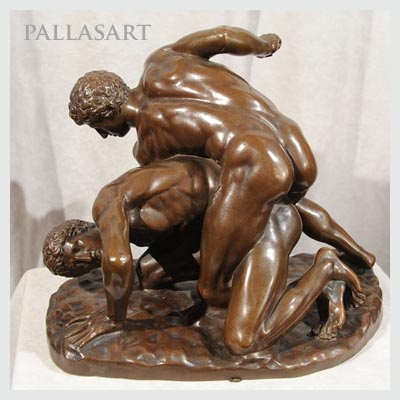 Bronze of the Wrestlers showing a brown patina