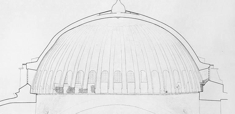 plan of the dome of Hagia Sophia