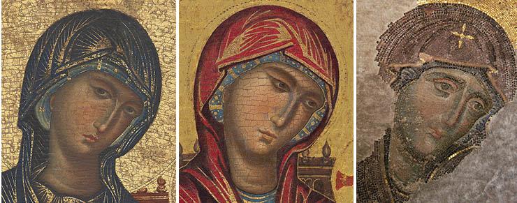 Compare Byzantine Faces Madonna