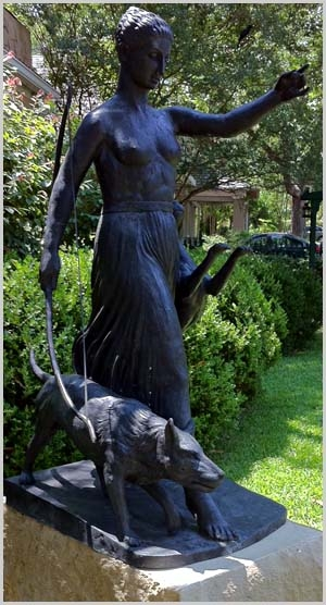 Artemis Diana Pallasart Bronze Sculpture with Hounds