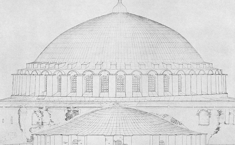 cross section dome Hagia Sophia