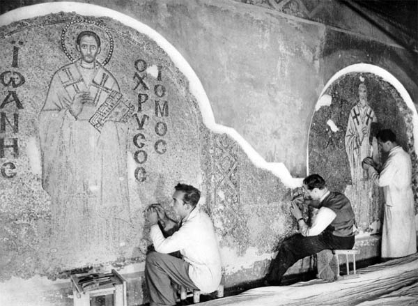 Byzantine Institute workers in Hagia Sophia