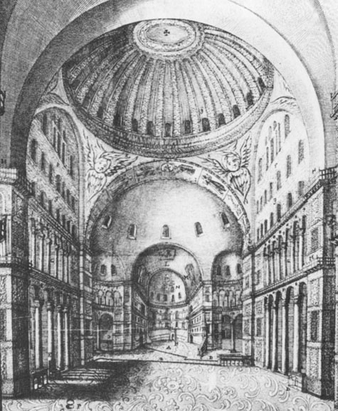 Interior of Hagia Sophia by Grelot from 1680