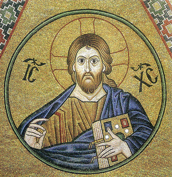 Christ mosaic in Hosias Loukas in Greece