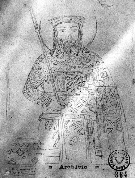Fossati Drawing of John V Palaeologus Mosaic in Hagia Sophia