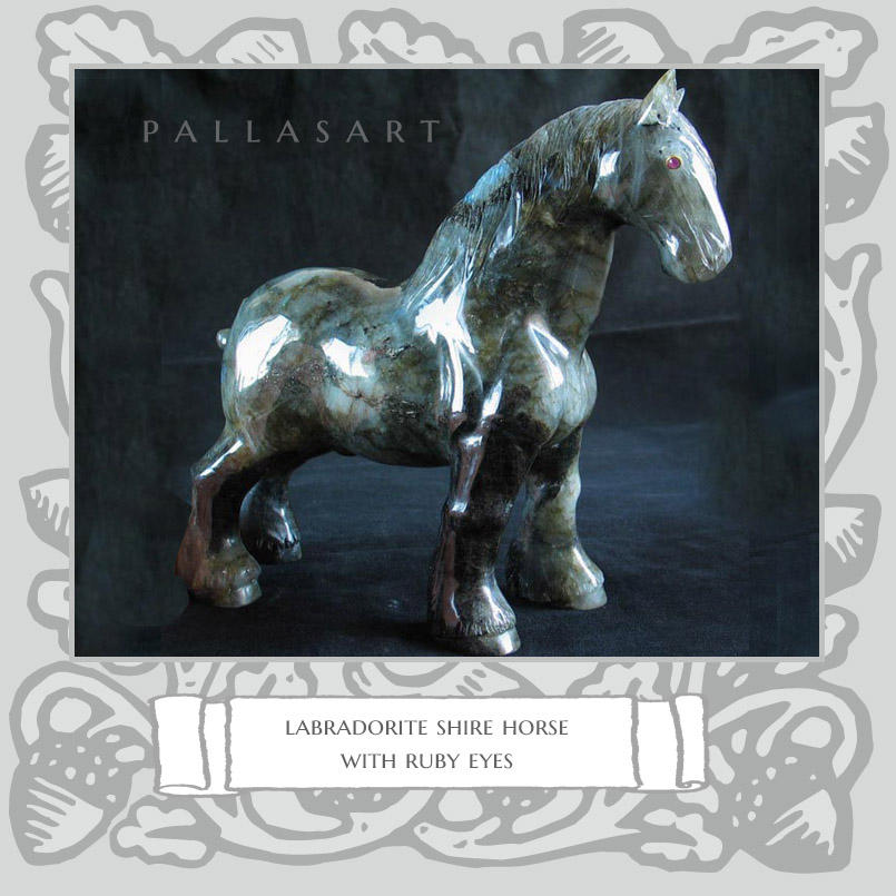 labradorite shire horse with ruby eyes