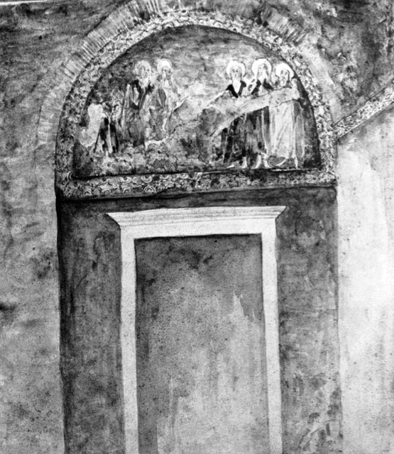 Fosatti watercolor of mosaics in the Holy Well