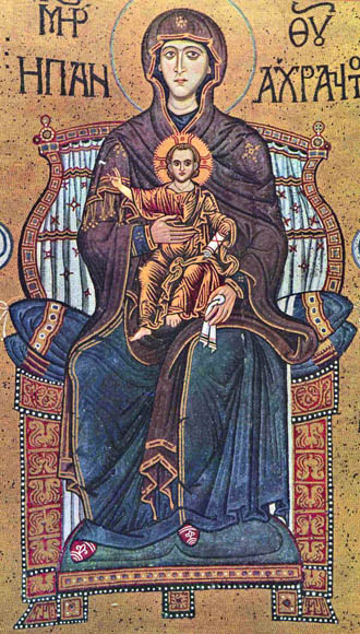 Monreale Mosaic of the enthroned Virgin