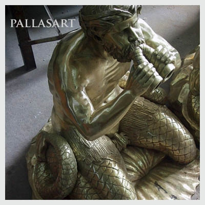 Pallasart Triton Sculture showing the natural color of brinze