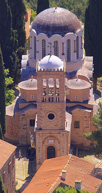 View of the dome of Nea Moni