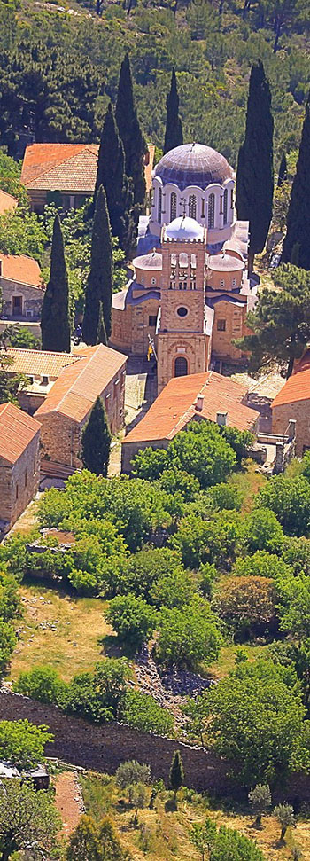 Nea Moni on Chios from the air