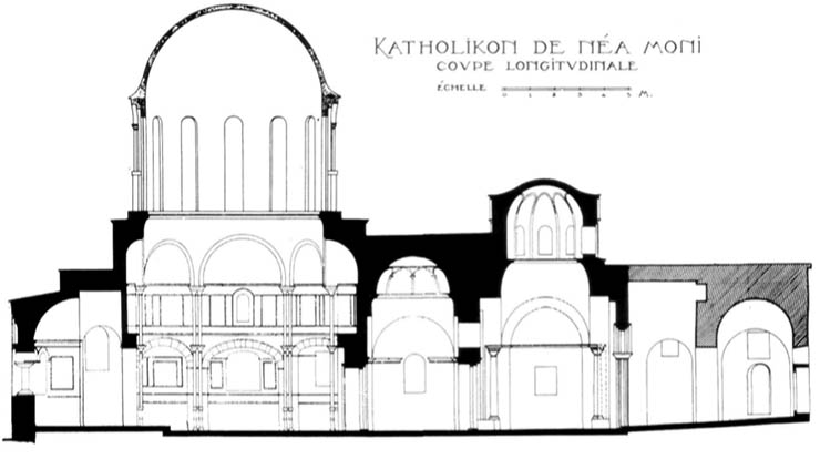 Plan of Nea Moni Byzantine Church on Chios