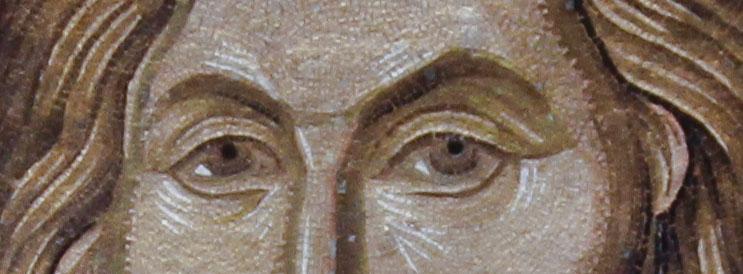 Eyes of Christ Pantokrator mosaic in Chora church