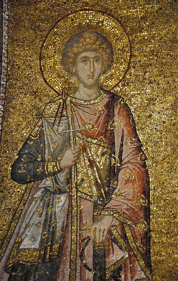Mosaic icon blond saint Chora Church Istanbul