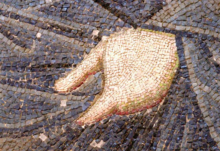 Byzantine Mosaic - close-up of hand of Christ